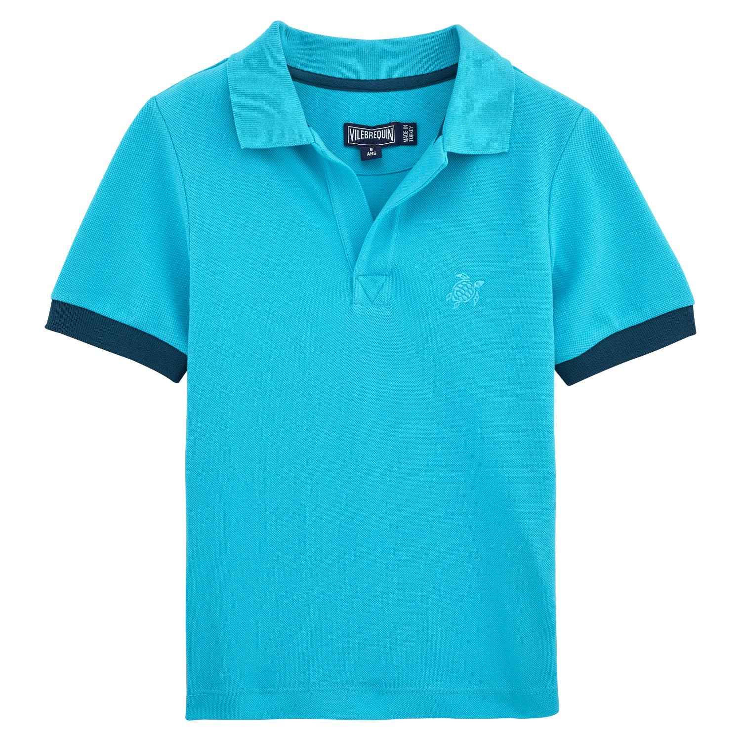 Vilebrequin Kids Baby Boy's Cotton Pique Polo (Toddler/Little Kids/Big Kids) Turquoise 12 Years