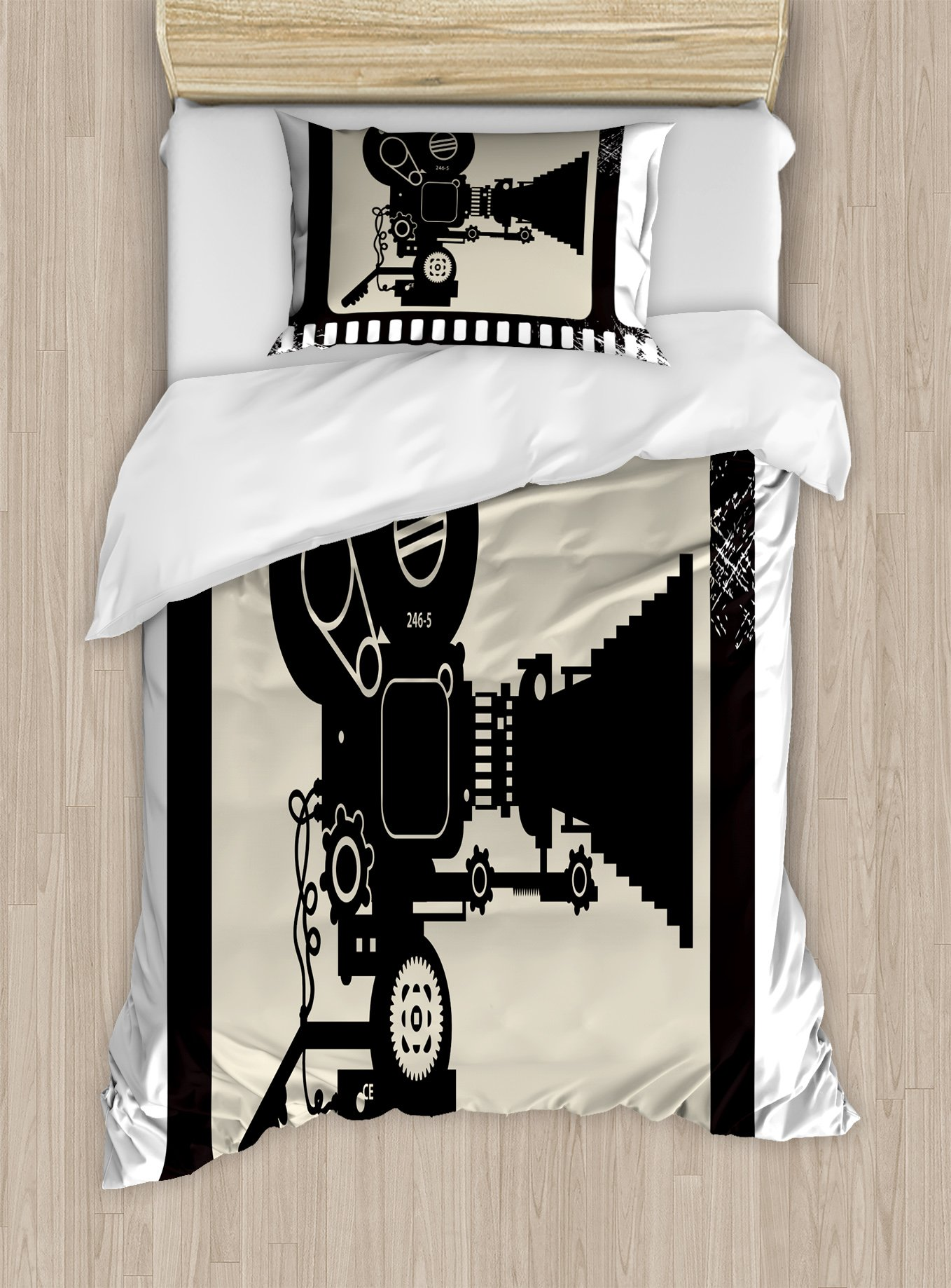 Ambesonne Movie Theater Twin Size Duvet Cover Set, Movie Frame Pattern with Silhouette of Movie Reels in a Projector, Decorative 2 Piece Bedding Set with 1 Pillow Sham, Dark Taupe Beige Black