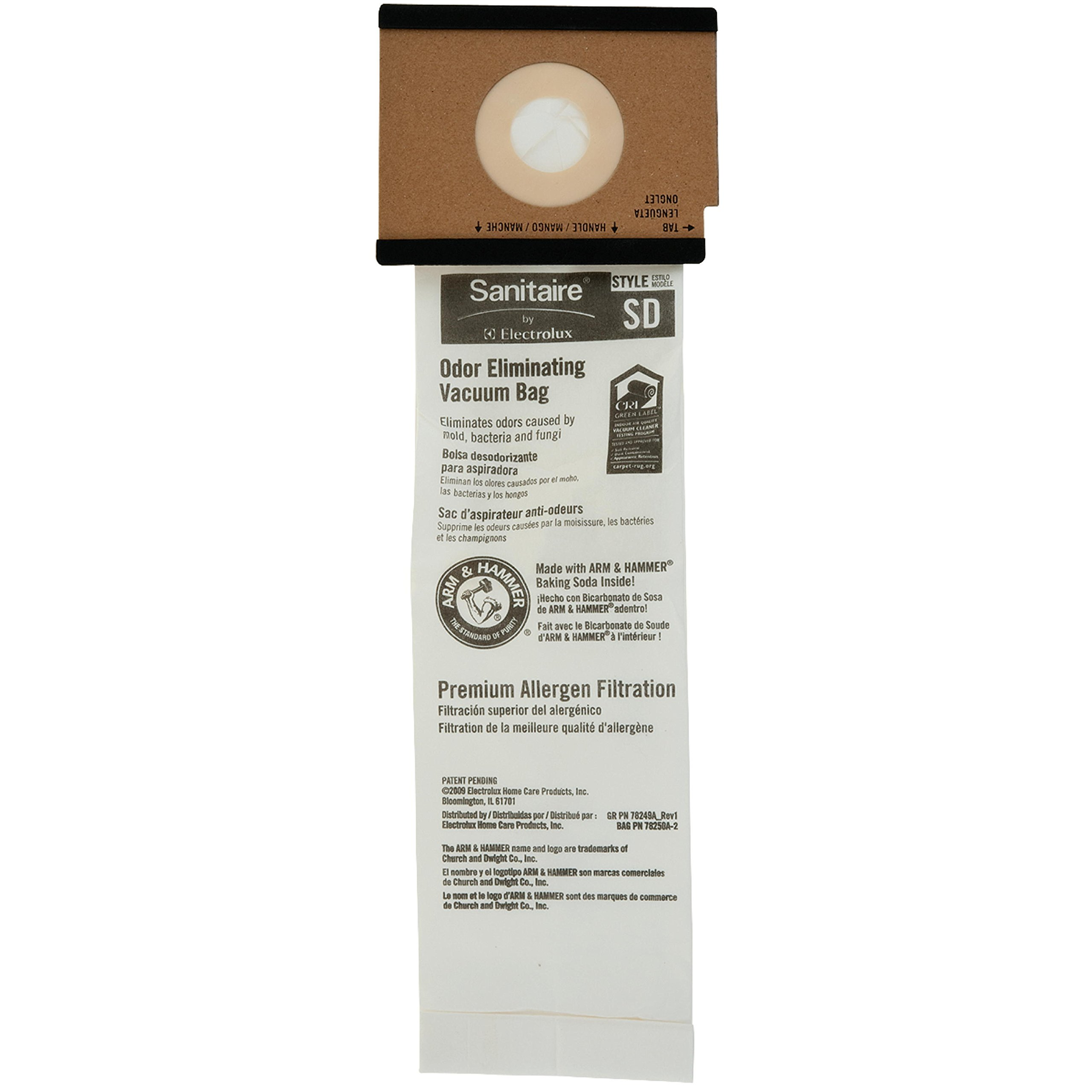 Sanitaire 63262B Replacement Bags, For Duralux Model Sc9180A, 5 Per Pack (10 Pack) Per Case-881097