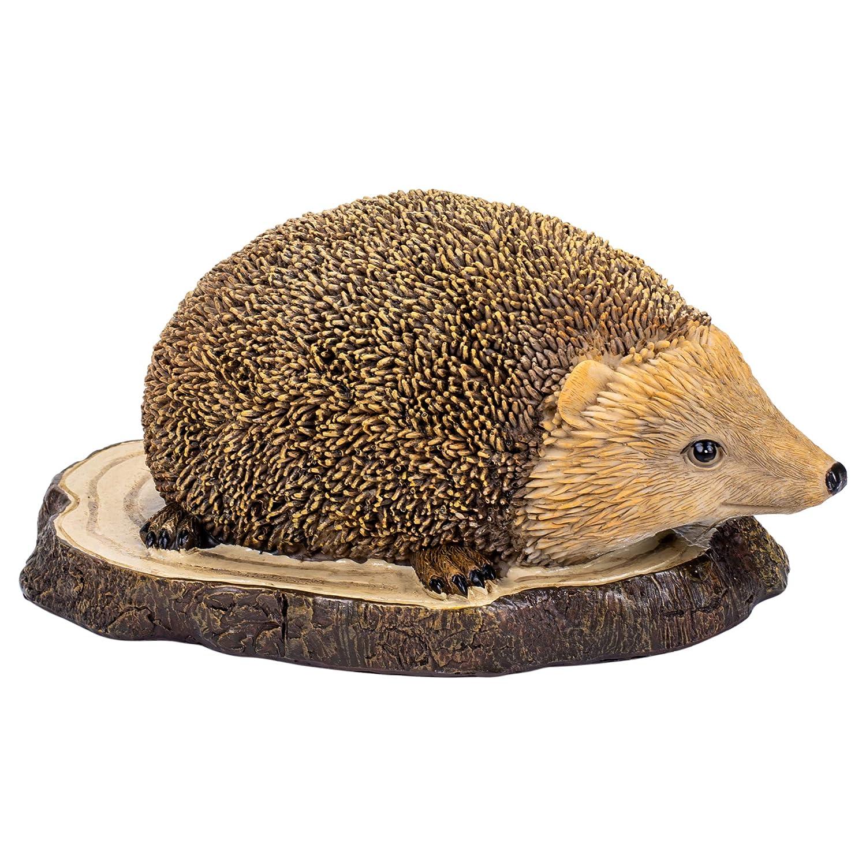 Creative Co-op Hedgehog Standing On Stump Natural Brown 8 inch Resin Stone Christmas Figurine