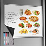 """Magnetic Board, Exwell 17 x 11"""" Magnetic Dry Erase White board, Fridge Whiteboard with 3 Magnetic Dry Erase Markers / 1 Magnetic Brush, Memo board with Magnetic for Refrigerator/Kitchen"""