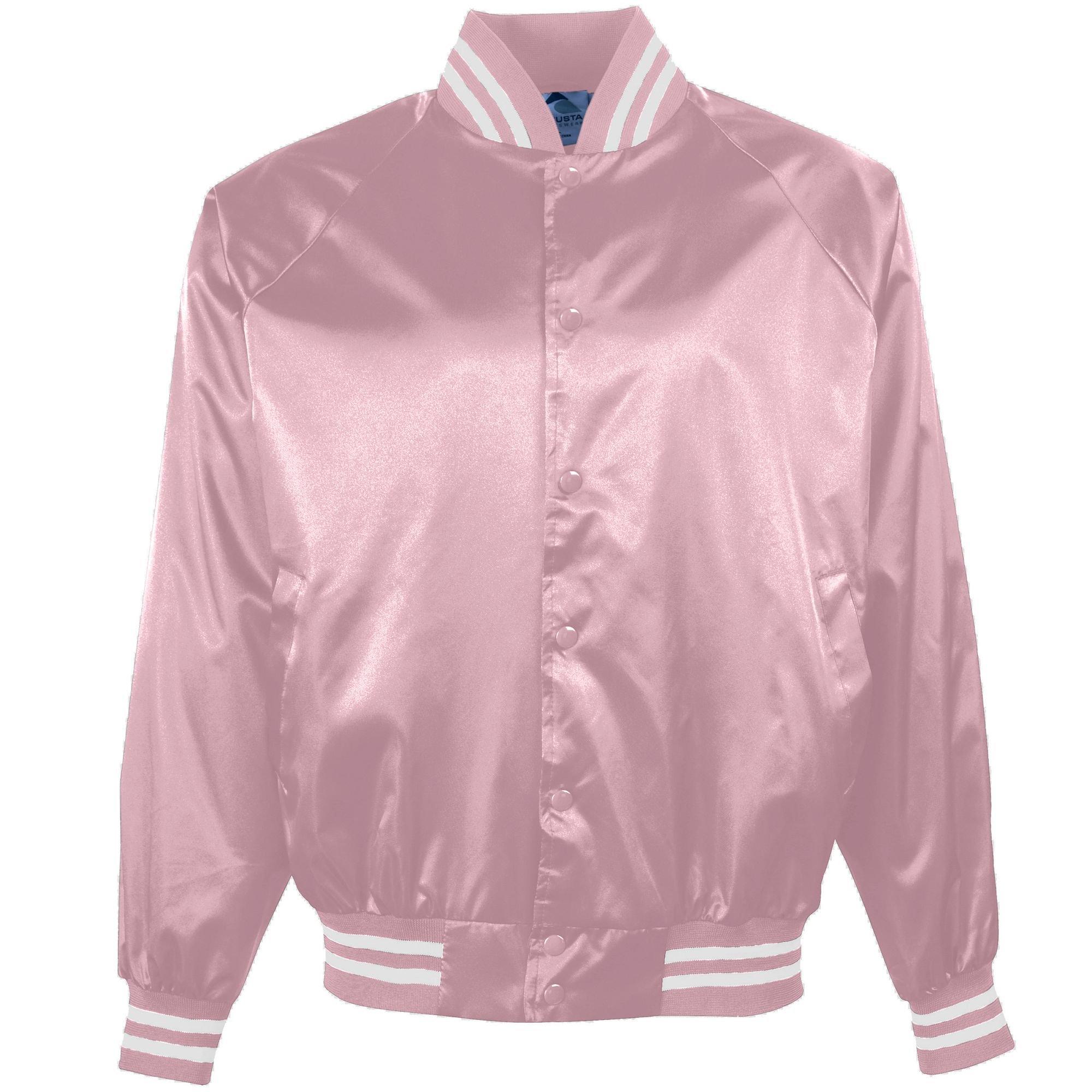 Augusta Sportswear 3610 Men's Satin Baseball Jacket/Striped Trim, Medium, Light Pink/White by Augusta Sportswear