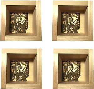 JapanBargain 2729x4, Wooden Sake Cups Masu Japanese Hinoki Wood Saki Cup Box Made in Japan, Kabuki, 4 ounce, Set of 4