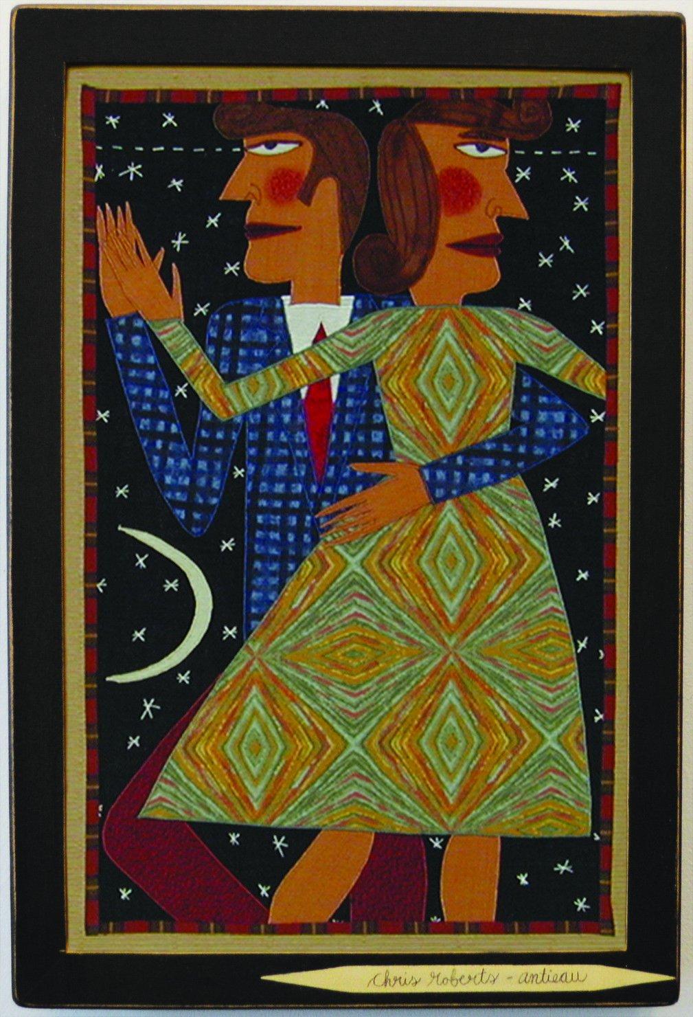 ''Slow Dancers'' Fiber Art Folk Art by Chris Roberts-Antieau