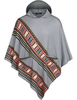 COOFANDY Mens African Print Dashiki Poncho Cape Hoodie Fashion Pullover Cloak