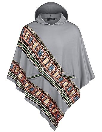 COOFANDY Unisex African Print Cloak Hooded Dashiki Cape with Hood Autumn