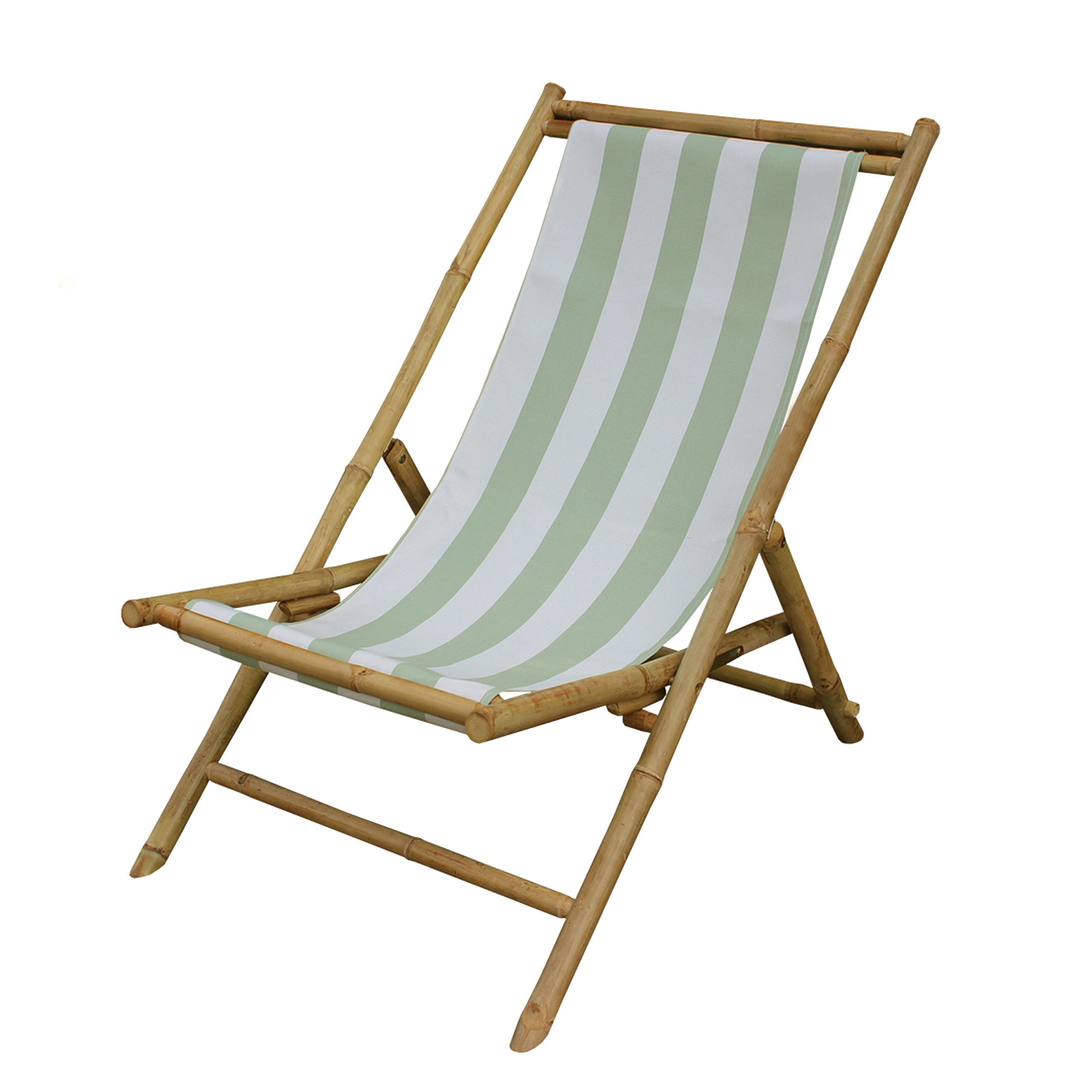 Zew Outdoor Foldable Bamboo Patio Sling Chair with Treated Canvas, 37'' L x 24'' W x 33'' H, Celadon Stripe
