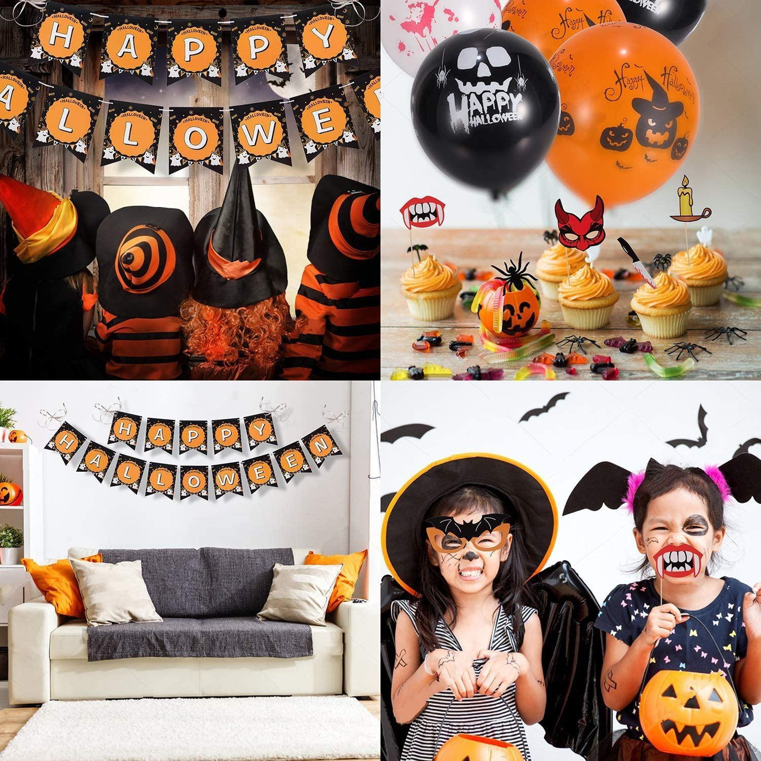 Photo Booth Props and Paper Garlands Genrics Halloween Party Decoration Supplies Favors Include Happy Halloween Banner Latex Balloons
