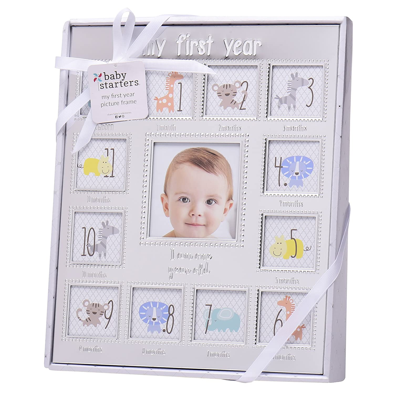 Amazon.com : Baby Starters My First Year Picture Frame, Silver : Baby