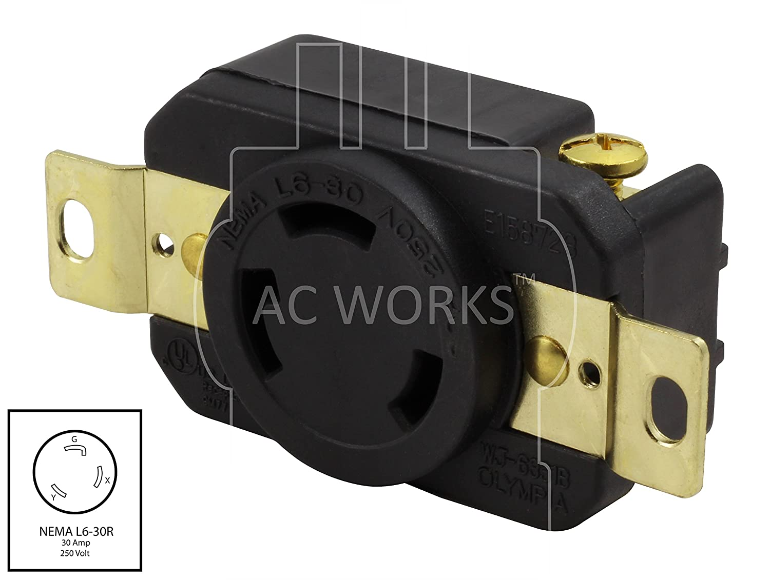 NEMA L6-30R Flush Mounting Locking Industrial Grade Receptacle 250-Volt AC WORKS 30-Amp FML630R