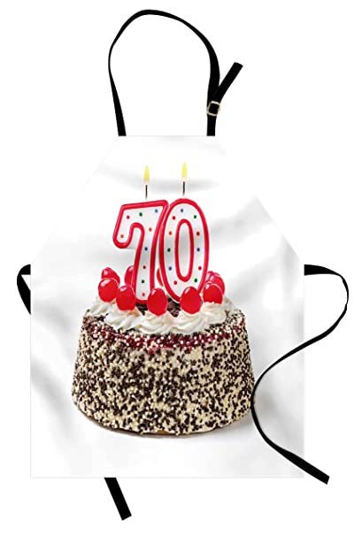 Ambesonne 70th Birthday Apron Cake With 70 Number Candles And Sprinkles Party Event Photo