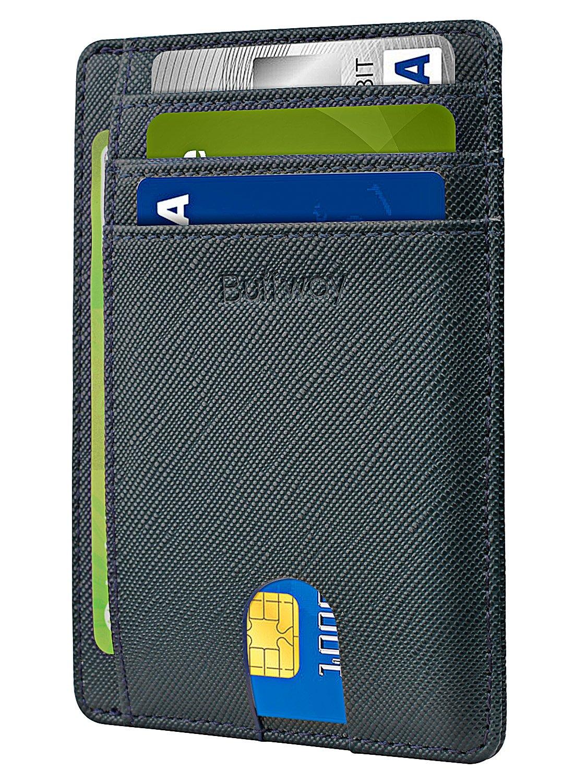 Slim Minimalist Leather Wallets for Men & Women - Cross Blackish Green