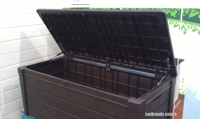 Keter Brightwood Wood Effect Garden Storage Bench Deck Box 455 Litres