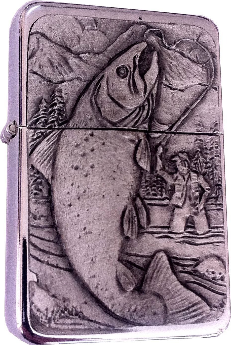 Chrome Star Lighter with Pewter Fishing/Fisherman Emblem, Complete with Metal Gift Tin Reallyusefulgifts