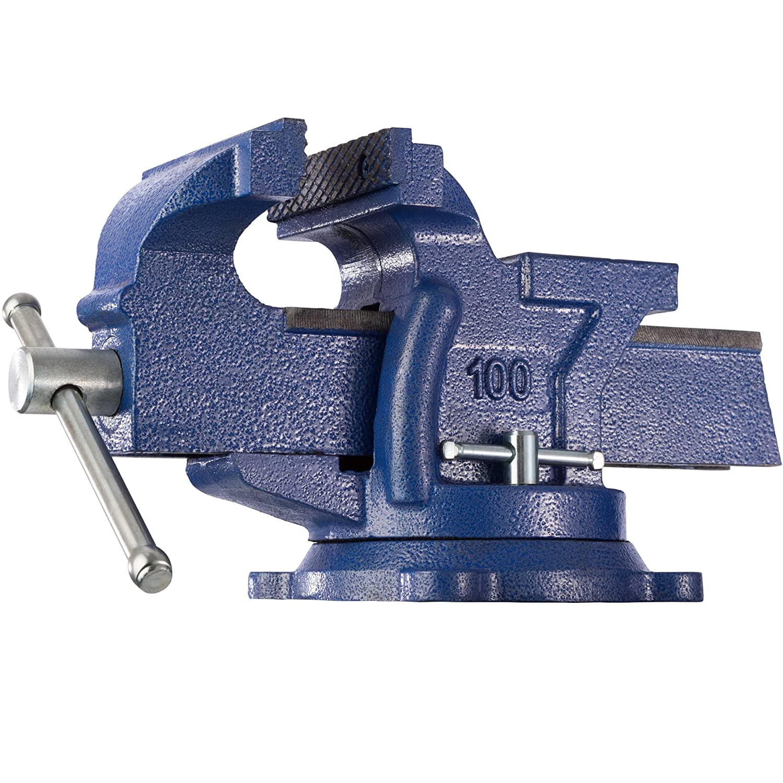 TecTake Tornillo de banco con yunque plato giratorio 360° para banco de trabajo - varias tamaños - (lapso 125 mm | No. 401124) 800167