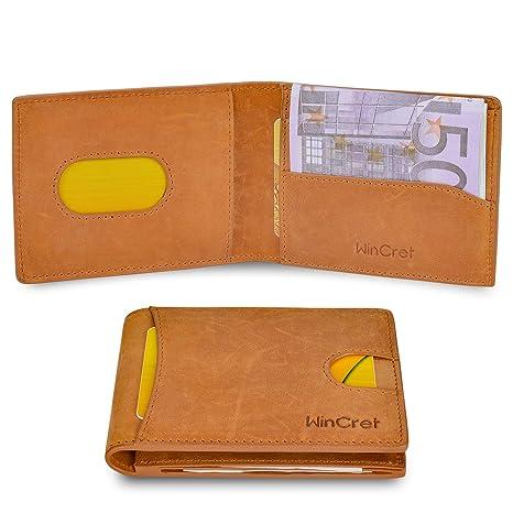 WinCret Cartera Hombre con Innovador Clip de Dinero y Bolsillo para Monedas - Protección RFID Billetera