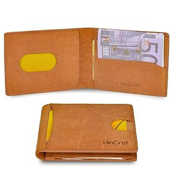 e89b8ad625196 Minimalist Ultra Slim Mini Geldbörse Herren mit Münzfach und RFID Schutz -  Leder Kleiner Dünner Geldbeutel