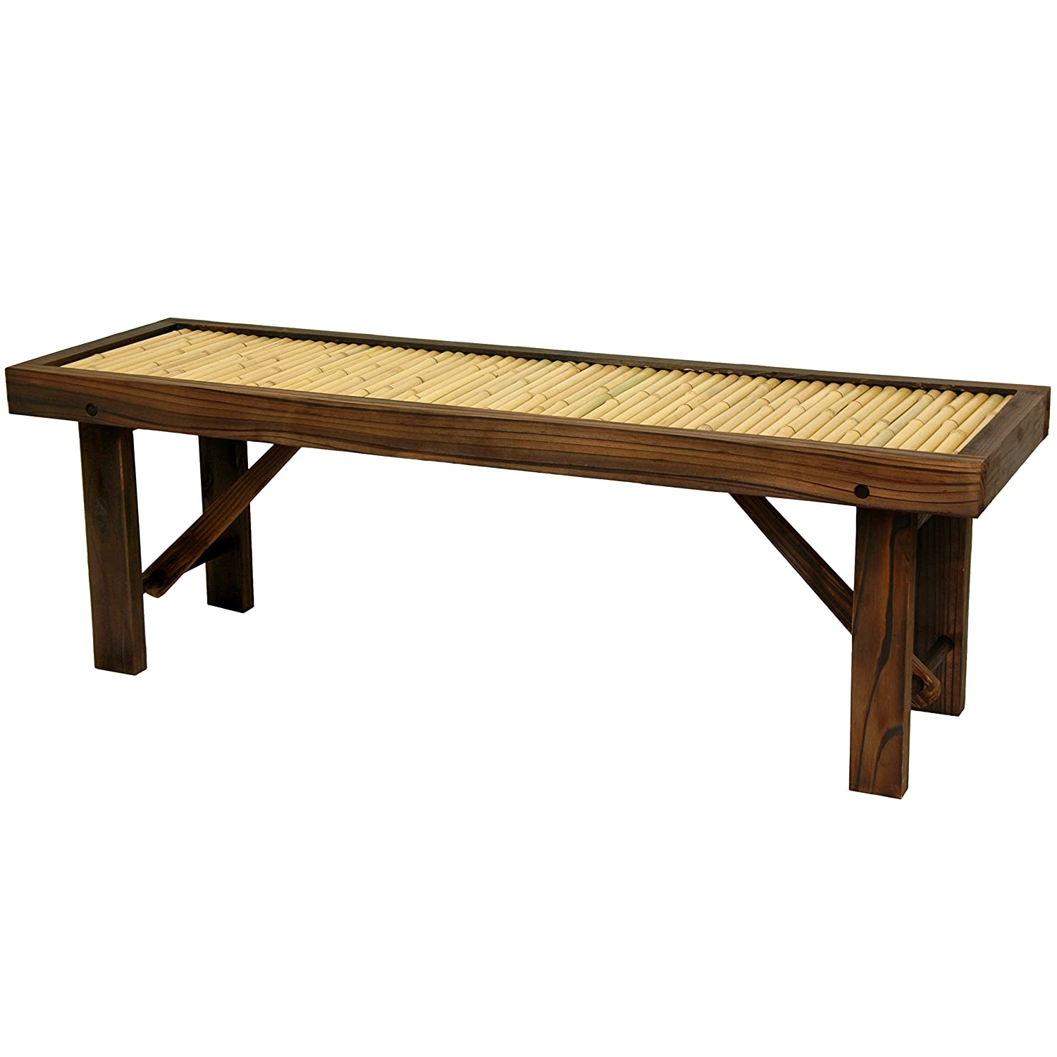 Amazon.com: Oriental Furniture Japanese Bamboo Bench W/ Wood Frame: Kitchen  U0026 Dining