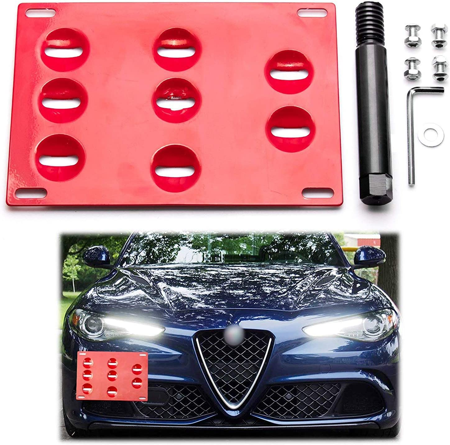 Xotic Tech Red Front Bumper Tow License Plate Mount Bracket Relocator Kit for Alfa Romeo Giulia 2017-up - No Drill