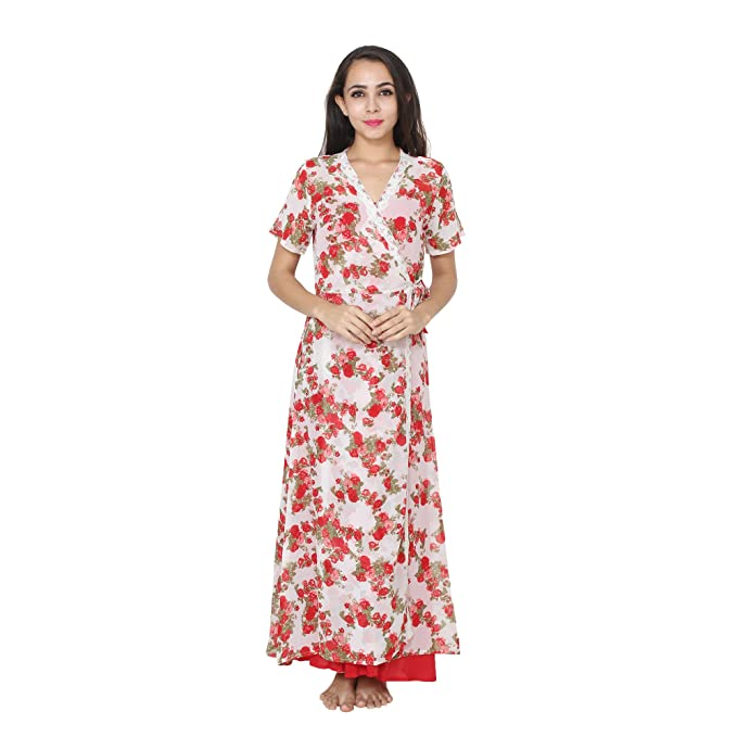 2d9e4e6723 Patrorna Women s A Line Nighty Night Dress with Lace Trim Robe in Red (Size  S