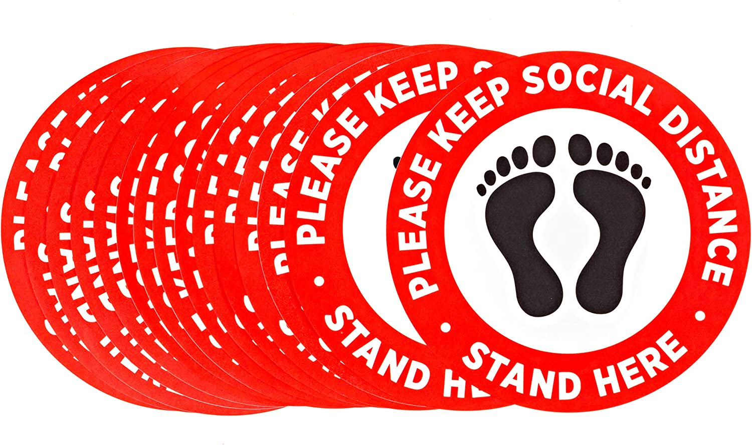 """Social Distancing Floor Decals Stickers - 12"""" Upgraded Safety Signs Supplies - 6 Feet Apart Distance Signage - Removable Vinyl, Anti Slip Waterproof Adhesive - 15 Pack"""