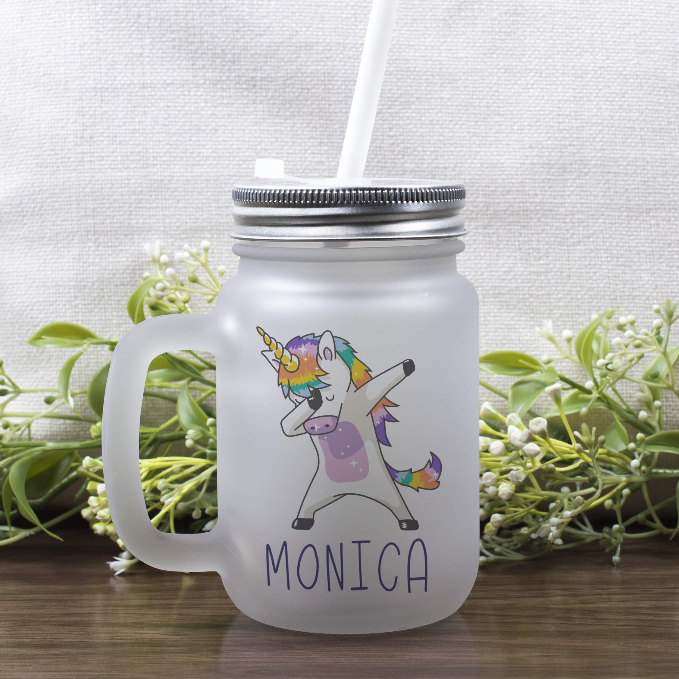 Personalized Gifts Dabbing Unicorn Coffee Mug - 12oz Frosted Mason Jar Coffee Mug with Lid and Straw -Birthday Gifts, Christmas Gifts, Mother's Day Gifts, Father's Day Gifts, Funny Mug for Kids by USA Custom Gifts (Image #3)