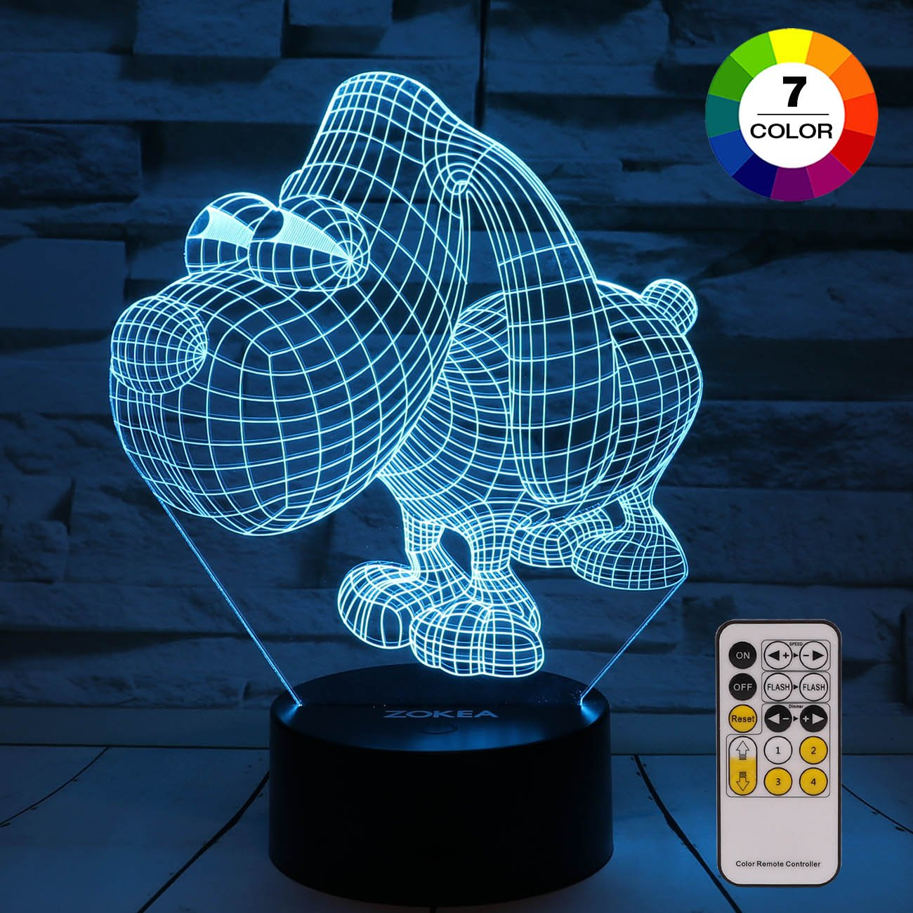 Night Light 3D lamp 7 Colors Changing Nightlight with Smart Touch & Remote Control 3D Night Light for Kids or as Gifts for Women Kids Girls Boys (Cute Dog)