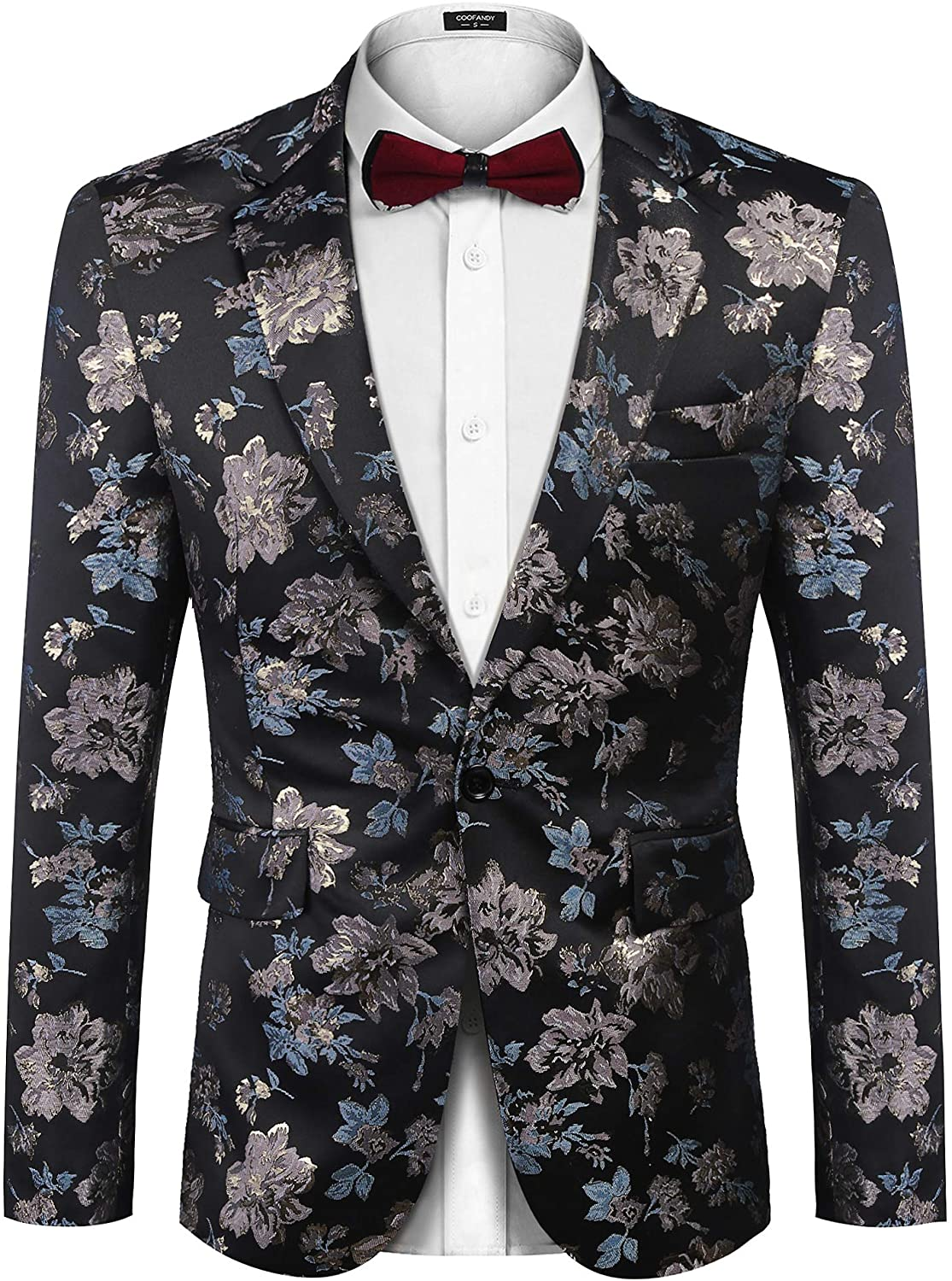 COOFANDY Men's Floral Blazer Slim Fit Dinner Tuxedo Prom Wedding Party Suit Jacket at  Men's Clothing store