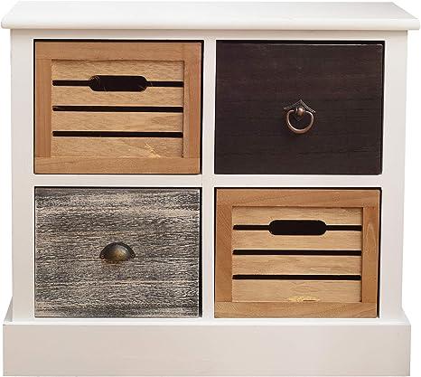 Kommode mit 3 Schubladen Sideboard Anrichte holz Schubladenschrank Schrank Retro