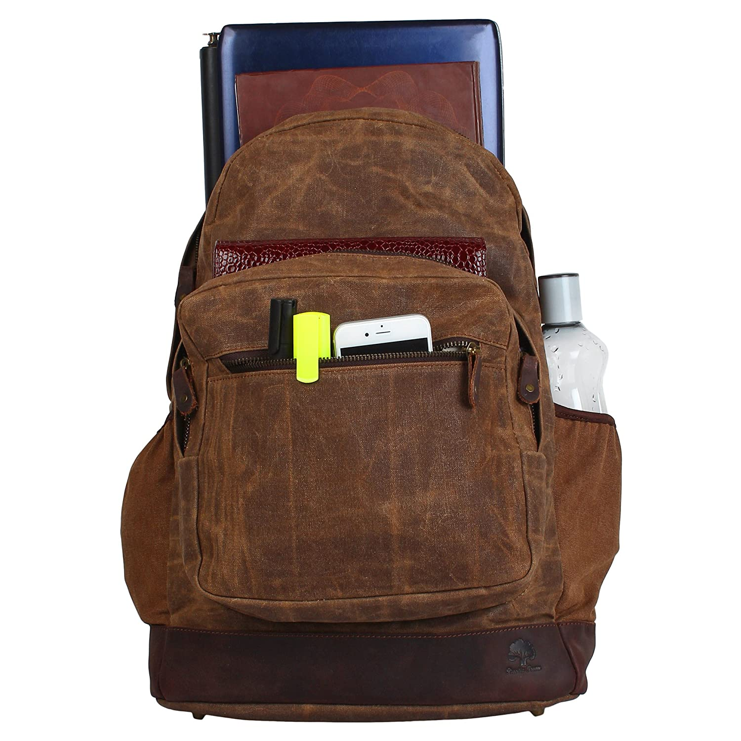 8e0c914af360 Amazon.com  Rustic Town Waxed Canvas Leather Backpack Laptop Bags Rucksack  for Students Unisex  RusticTown