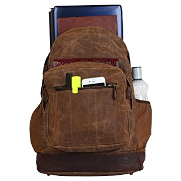 Amazon.com  Rustic Town Waxed Canvas Leather Backpack Laptop Bags Rucksack  for Students Unisex  RusticTown a9a9e30e5c