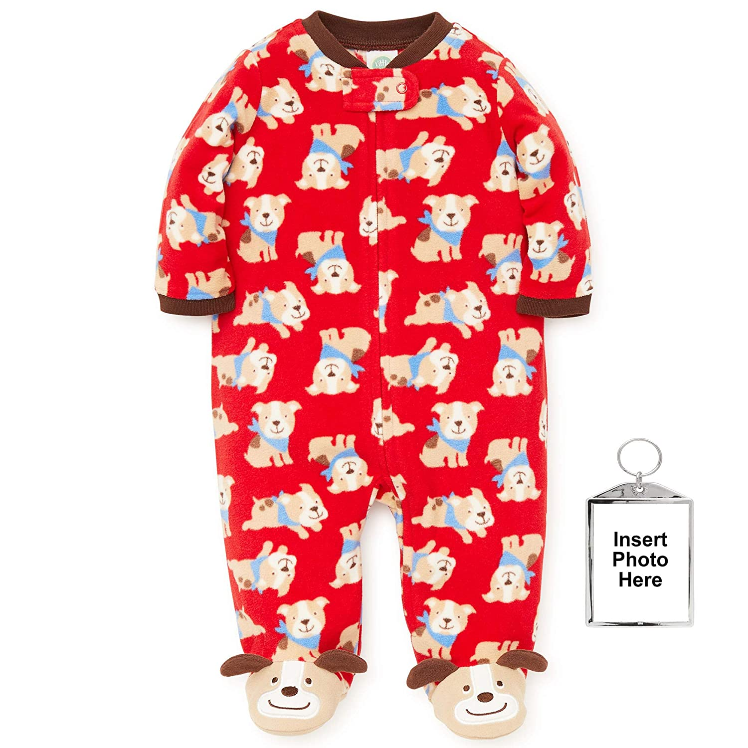 Amazon.com: Little Me Winter Fleece Baby Pajamas Footed Blanket Sleeper Footie Red Puppy Dog 24 Month: Baby