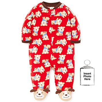 926cccd1b1 Image Unavailable. Image not available for. Color  Little Me Winter Fleece  Baby Pajamas with Feet Blanket Sleeper Footie ...