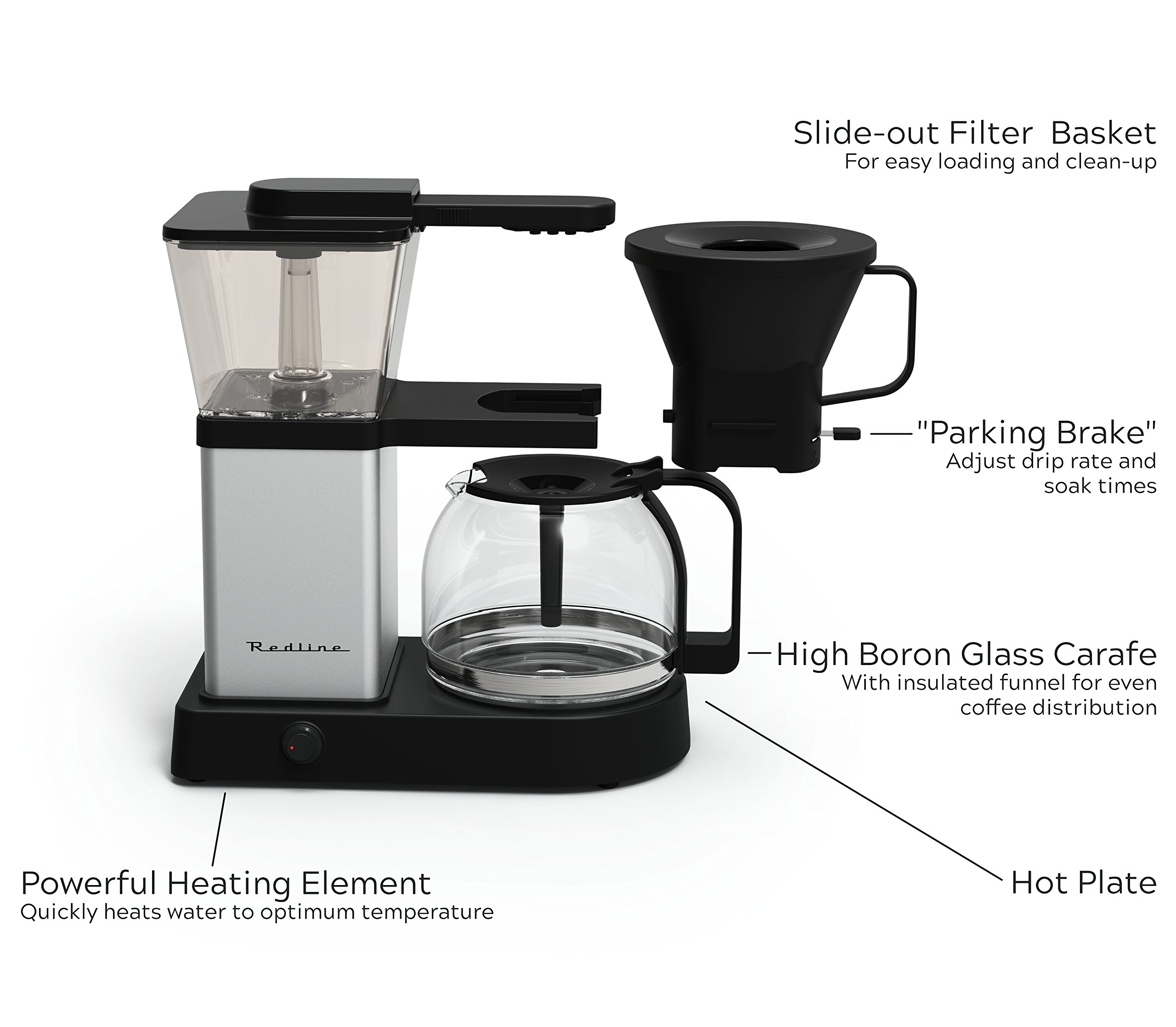 Redline MK1 8 Cup Coffee Brewer with Glass Carafe, Hot Plate and Pre-Infusion Mode by Redline Coffee (Image #2)