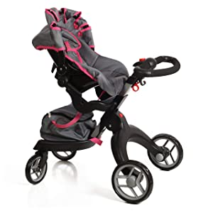 "Mommy & Me Socutie Doll Stroller with Swiveling Wheels & Adjustable Handle. 31"" Tall, Carriage Bag Included"