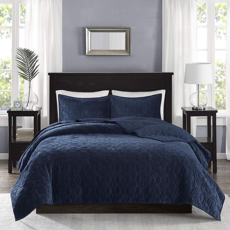 Madison Park Harper Quilt Set-Faux Velvet Casual Geometric Stitching Design All Season, Lightweight Coverlet, Cozy Bedding