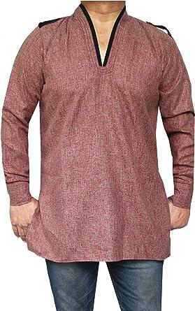 MapleClothing Algodón para Hombre Short Kurta Camisa Ropa Tradicional India