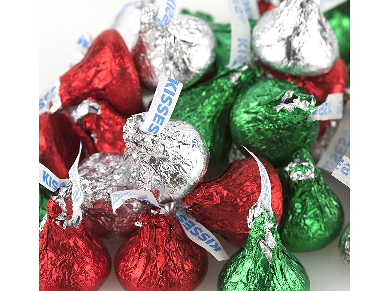 Amazon.com : Hershey Kisses Christmas Foil red green silver ...