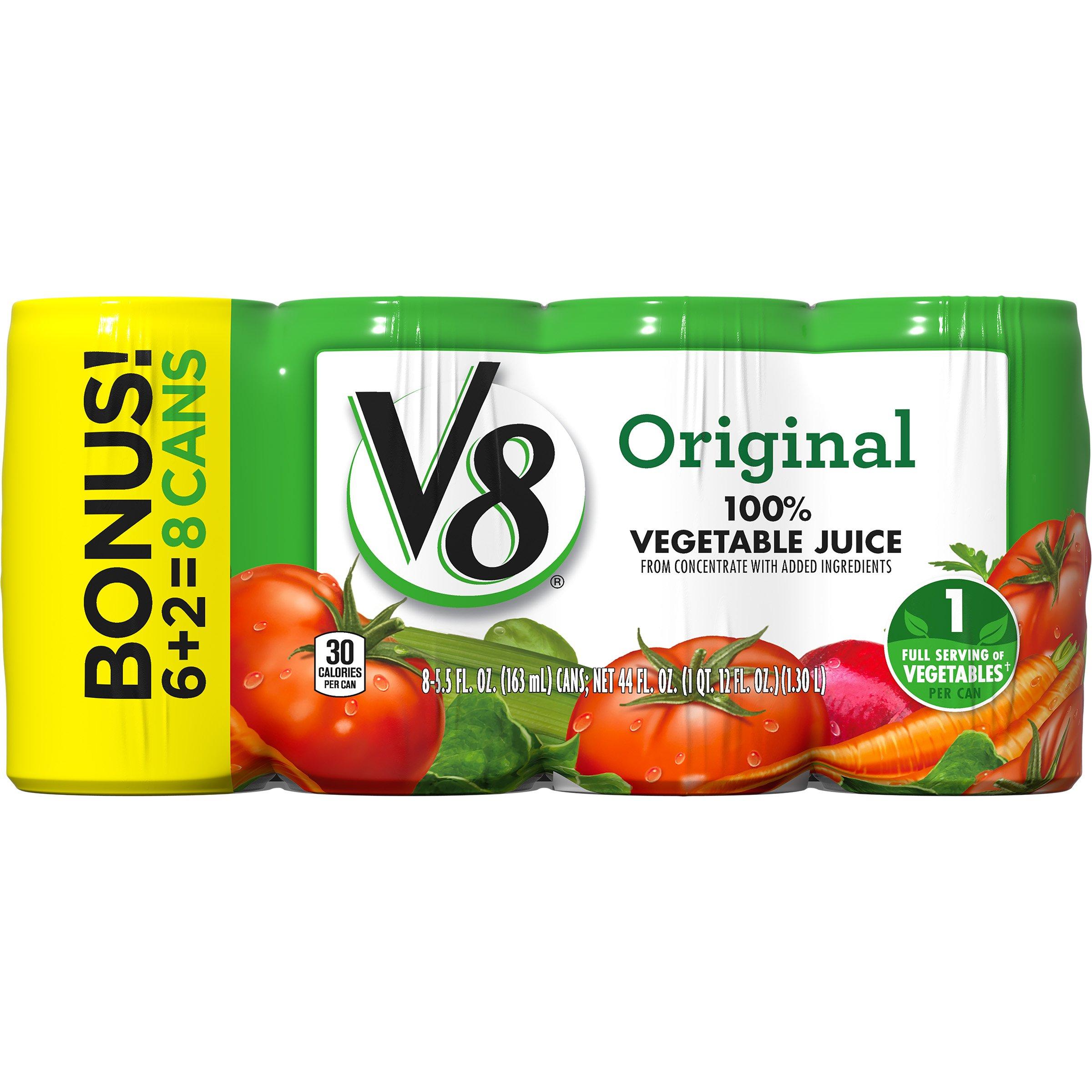 V8 Original 100% Vegetable Juice, 5.5 oz. Can (6 packs of 8