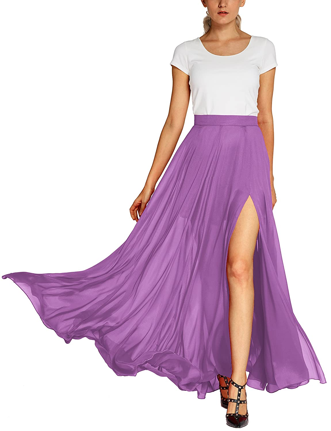 3c6aab5f30 Womens elegant style high waist long maxi skirts,solid split skirt with  lining, zipper back. Features:fashion,unique,elegant maxi beach long split  skirts ...