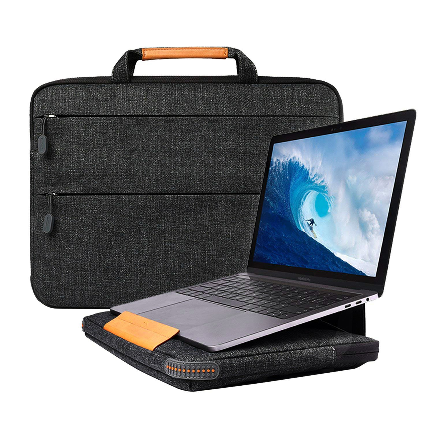 13-13.3 Inch Laptop Bag Sleeve Case Cover with Stand Function for Macbook Air / Macbook Pro / Pro Retina , EKOOS Protective Bag Carrying Case Briefcases for Surface Laptop 2017 Samsung Acer HP,12.9 Inch iPad Pro 2018 2017 - Black Wiwu