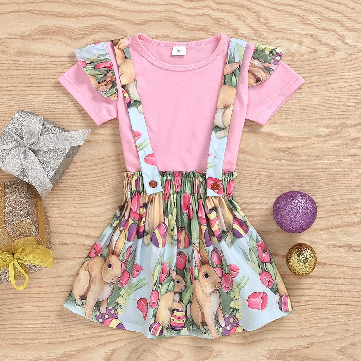Baby Girl Easter Skirt Set Pink T-Shirt Top and Bunny Overall 2Pcs Toddler Easter Outfit Set