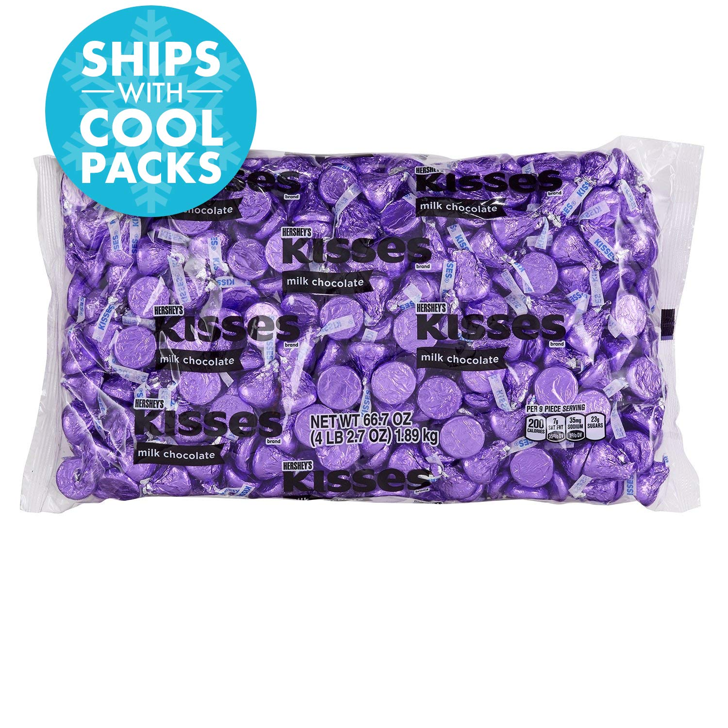 HERSHEY'S KISSES Chocolate Candy, Purple, 4.1 lb Bulk Candy