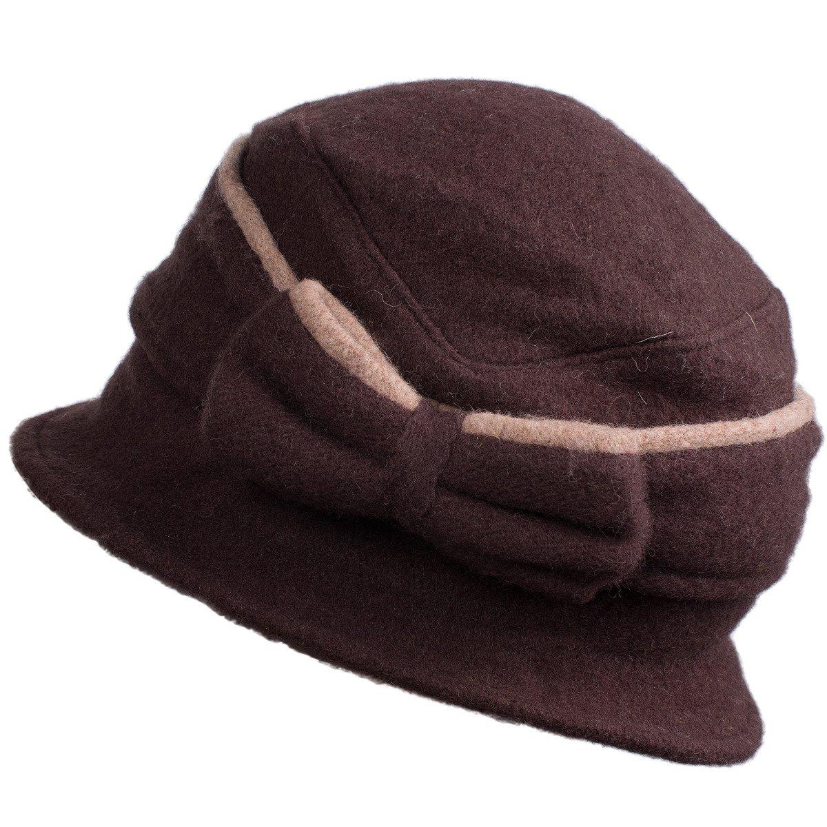 99fcf648152 Lawliet Two-Tone Womens Ladies 100% Wool Winter Warm Bow Bucket Cloche Hat  T177