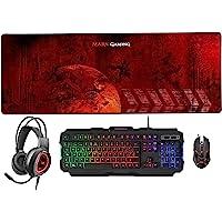 MARSGAMING MCPRGB2ES, Combo Gaming Teclado y Ratón +Alfombrilla XXL+ Cascos, ES, negro