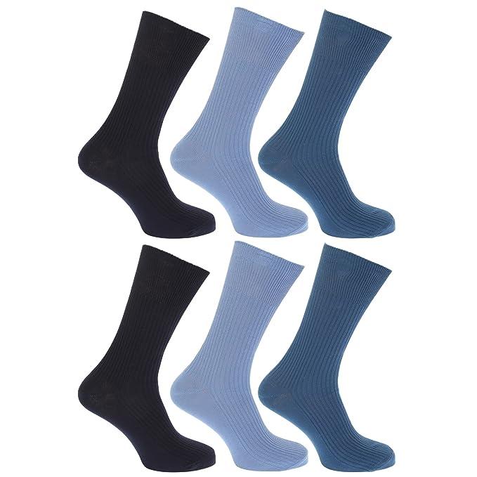 Floso - Calcetines lisos acanalados sin goma o elástico 100% algodón para hombre/caballero