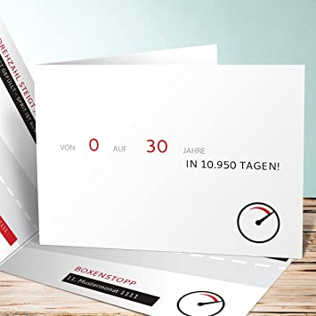 Geburtstagseinladungen 30 Rennbahn 5 Karten Horizontale