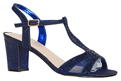 d3f50e65659 MVE Shoes Women s T Strap Open Toe - Rhinestone Block Heel - Sparkle Party  Sandal -