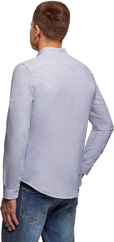 oodji Ultra Uomo Camicia in Lino con Colletto alla Coreana