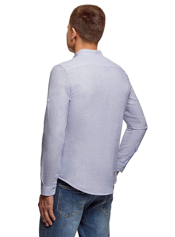 oodji Ultra Hombre Camisa de Lino con Cuello Mao, Azul, 52-54: Amazon.es: Ropa y accesorios